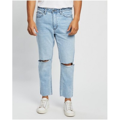 Abrand Men's A Chopped Straight Jeans Battery Rip Eco - Jeans The Most Popular HGQMQHR