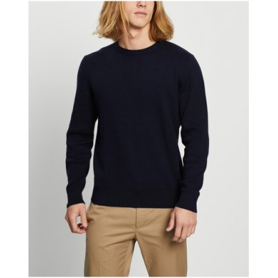 AERE Men's Organic Cotton & Cashmere Knit Navy - Jumpers & Cardigans Clearance NQAVWBC