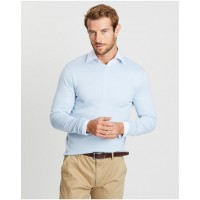 Gieves and Hawkes Men's Lightweight Merino Crew Neck Knit Light Blue - Jumpers & Cardigans SLGBLXO