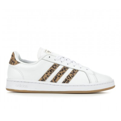 Women's Adidas Grand Court Sneakers Wht/Leopard/Gum Formal NAI988631