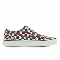 Women's Vans Doheny Checker Skate Shoes B/W/Cherry Going Out stores JF2FW3409
