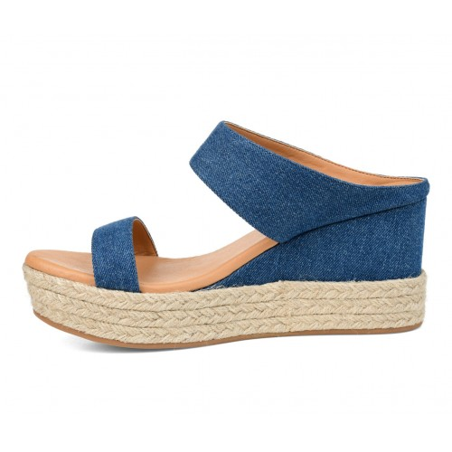 Women's Journee Collection Alissa Espadrille Wedges Denim Business Casual in style 8HPY42991