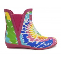 Women's London Fog Piccadilly Chelsea Rain Boots Fuchsia Tie Dye Going Out new in IXMAF9468