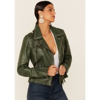 Mauritius Leather Women's Green Christy Star Zip-Front Moto Leather Jacket YGYQP6554