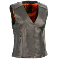 Milwaukee Leather Women's Phoenix Stud Embroidered Snap Front Vest Near Me 0O7601804