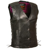 Milwaukee Leather Women's Stud & Wings Leather Vest - 3X Collection YOTI76816