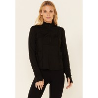 Shyanne Life Women's Black 1/2 Zip Logo Sleeve Relaxed Pullover stores 85LQ88695
