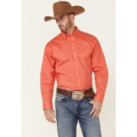 Panhandle Select Men's Solid Stretch Long Sleeve Button-Down Western Shirt guide DREK46901