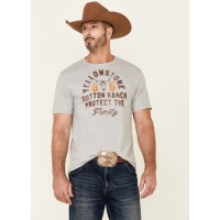 Yellowstone Men's Dutton Ranch Protect The Family Graphic Short Sleeve T-Shirt Trend 842SZ3427