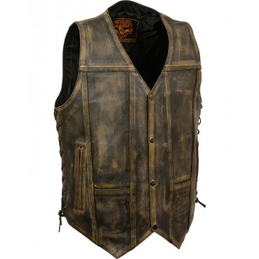 Milwaukee Leather Men's Brown Distressed 10 Pocket Vest New Style UY4341863